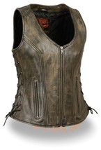 WOMEN'S MOTORCYCLE RIDERS DISTRESSED BROWN SOFT LEATHER VEST W/ SIDE LAC... - $102.49+