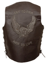 MEN'S MOTORCYCLE REAL LEATHER VEST LIVE TO RIDE EMBROIDERED W/SIDE LACES... - $65.13+