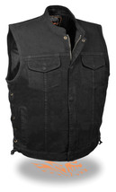 MEN'S MOTORCYCLE SON OF ANARCHY BLACK DENIM VEST SIDE LACES W ZIPPER GUN... - $65.09+