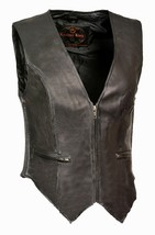 WOMEN'S MOTORCYCLE RIDER LEATHER CLASSIC ZIPPER FRONT VEST SOFT LEATHER ... - $63.33+