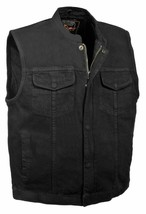 MEN'S MOTORCYCLE SON OF ANARCHY BLACK DENIM VEST GUN POCKETS INSIDE W ZI... - $65.09+