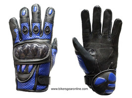 MEN'S MOTORCYCLE RACING PADDED LEATHER BLUE GLOVES W/ HARD KNUCKLES PROT... - $34.99