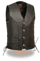 MEN'S MOTORCYCLE BIKERS BUTTER SOFT LEATHER VEST SIDE LACES BUFFALO SNAP... - $83.86+