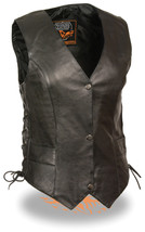 WOMEN'S MOTORCYCLE CLASSIC RIDERS BLACK LEATHER VEST 3 SNAPS W/ SIDE LACES - $84.14+