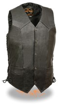 MEN'S MOTORCYCLE TALL LENGTH BIKERS LEATHER VEST SOFT LEATHER SIDE LACES... - $55.74+