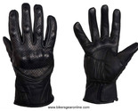 MEN'S MOTORCYCLE RACING LEATHER BLACK GLOVES W/ HARD KNUCKLES PROTECTION BLACK