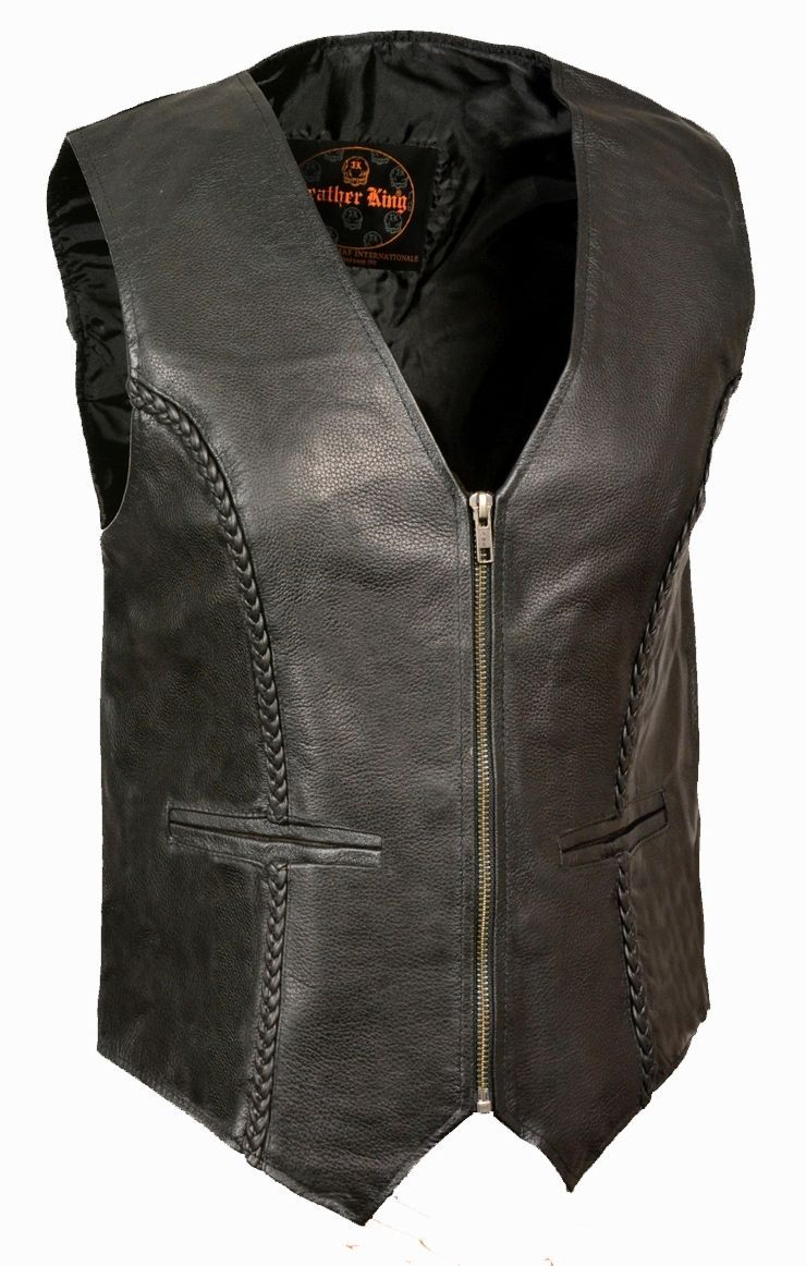 WOMEN'S MOTORCYCLE RIDER LEATHER BRAIDED CLASSIC ZIPPER VEST SOFT LEATHER BLACK