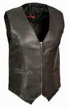WOMEN'S MOTORCYCLE RIDER LEATHER BRAIDED CLASSIC ZIPPER VEST SOFT LEATHE... - $70.11+