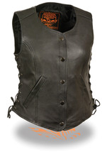 WOMEN'S MOTORCYCLE RIDER 5 SNAPS LEATHER CLASSIC VEST SIDE LACES SOFT LE... - $78.25+