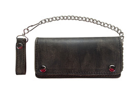 MOTORCYCLE BIKERS TRUCKER REAL DISTRESSED LEATHER WALLET W/CHAIN BIFOLD ... - $27.87