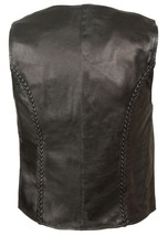 WOMEN'S MOTORCYCLE RIDER LEATHER BRAIDED CLASSIC ZIPPER VEST SOFT LEATHER BLACK image 2