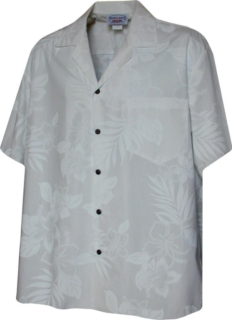 Pacific legend mens white wedding tropical floral hawaiian for Mens white floral shirt