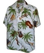 Hawaiian Aloha Shirt Musical Instruments White ... - $33.00 - $36.00