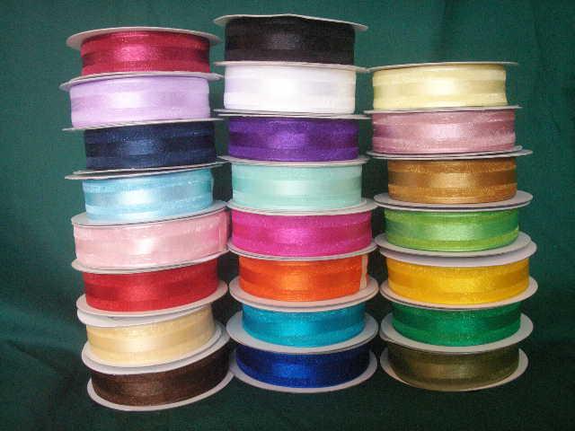 50 made bows PERSONALIZED RIBBON  7/8 inch satin and organza ribbon