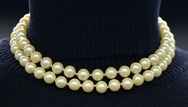 VENDOME Beige Faux Pearl Clear Rhinestone Wedding Dual Strand Necklace V... - $74.24