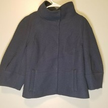 ANN TAYLOR WOOL NAVY BLUE JACKET LINED COLLARED Women's Size Large Hidde... - $19.79
