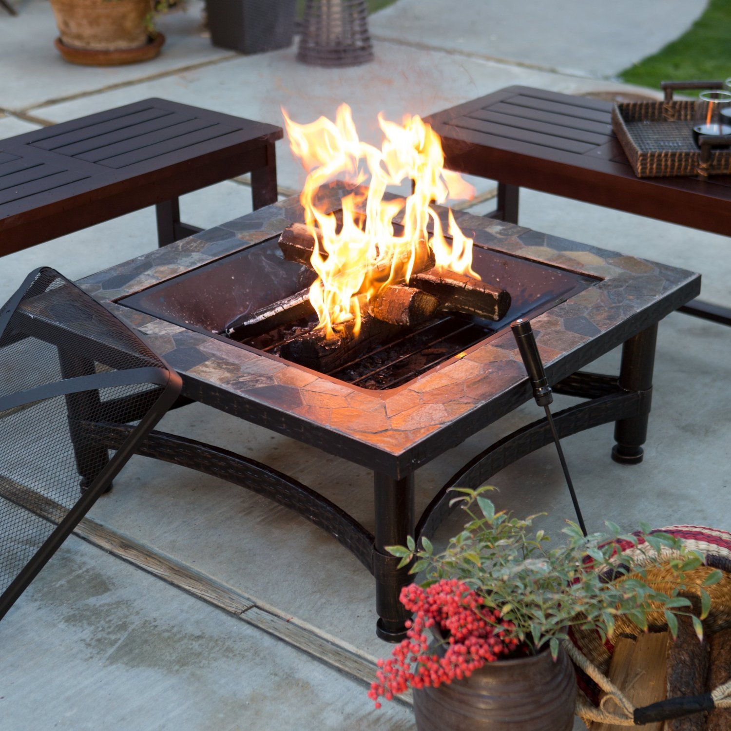 Backyard Patios With Fire Pits: Outdoor Fire Pit 34-in. Square Slate Black Steel Bowl