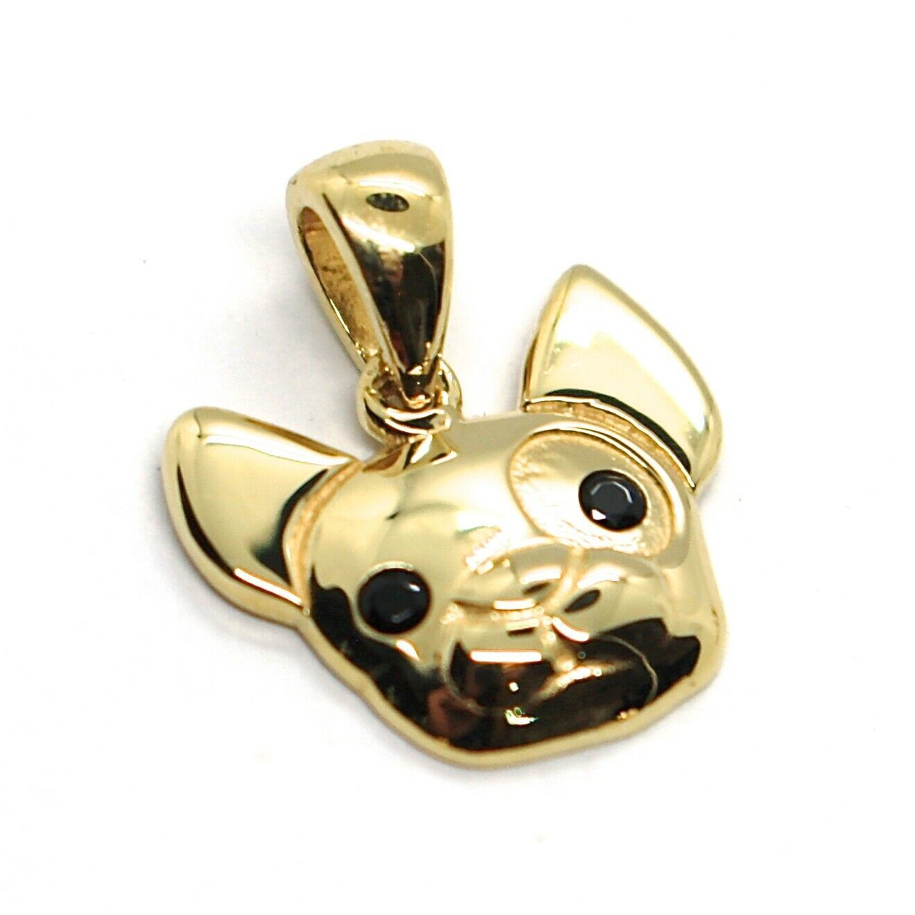 Yellow Gold Pendant 750 18K, Pendant, Dog, French Bulldog, Zircon Black