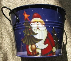 KLY1077006 Santa Bucket Metal with Side handles - $8.95