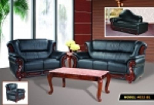 Meridian 632 Bella Living Room Set 2pcs in Black Bonded Leather Traditional