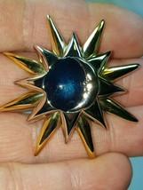 Vintage Signed LC Liz Claiborne Moon Star Celestial Pin Brooch Blue Enamel - $11.83
