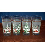 Vintage KIG Indonesia Holiday Snow Village Trees Frosted Panel Glasses T... - $24.74
