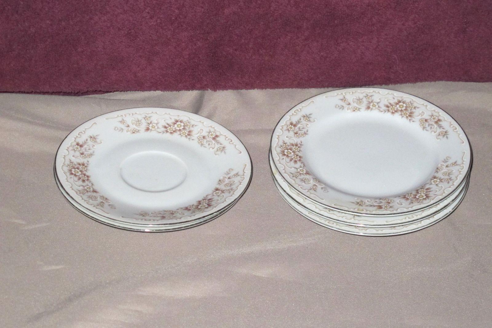 Vintage Elegance Fine China of Japan White Floral 2 Saucers 3 Dessert Plates Lot