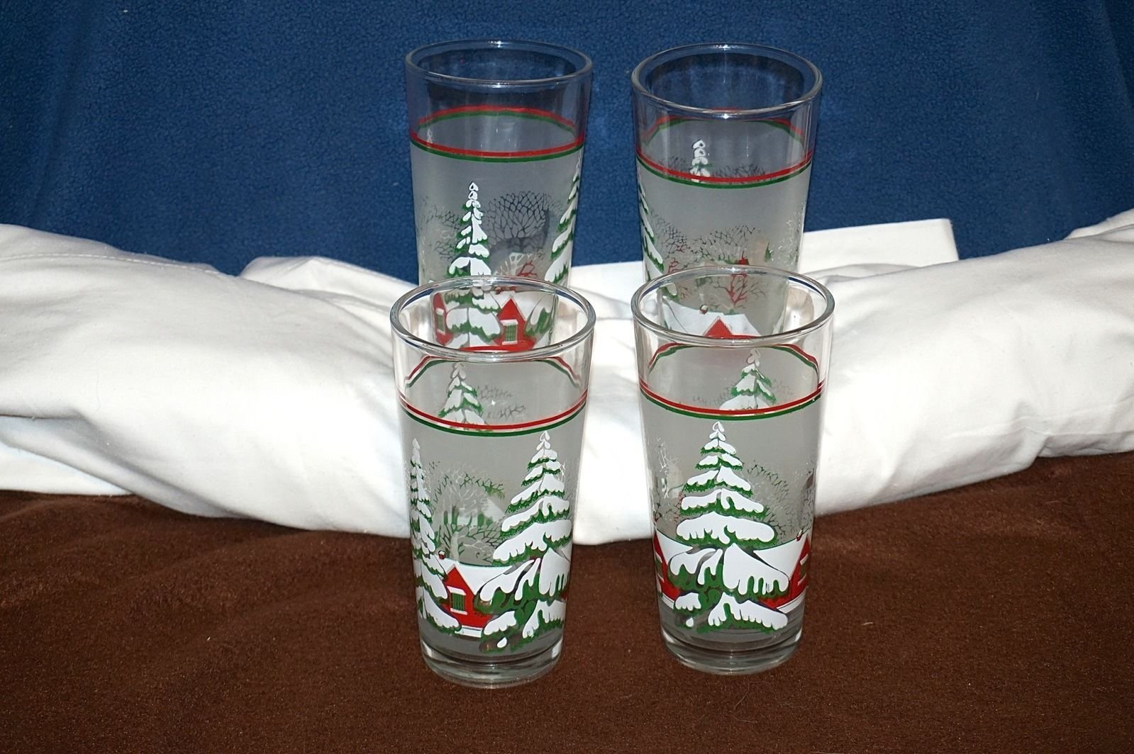 Vintage KIG Indonesia Holiday Snow Village Trees Frosted Panel Glasses Tumblers