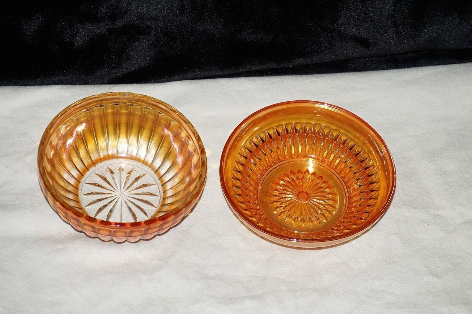 2 Vtg Marigold Orange Iridescent Carnival Glass Depression Era Bowls Imperial