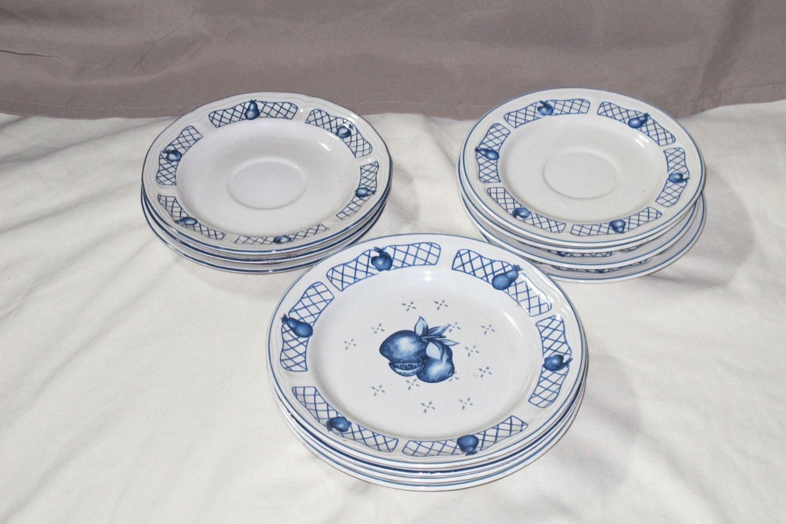 Newcor Stoneware Cape Cod Design Blue Fruit Lattice 5 Salad 7 Saucer Plates 1995 & Newcor Stoneware Cape Cod Design Blue Fruit and 22 similar items