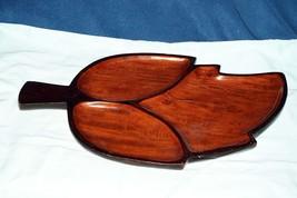 Vintage Wood Leaf Shaped Divided Dish Plate Pla... - $12.86