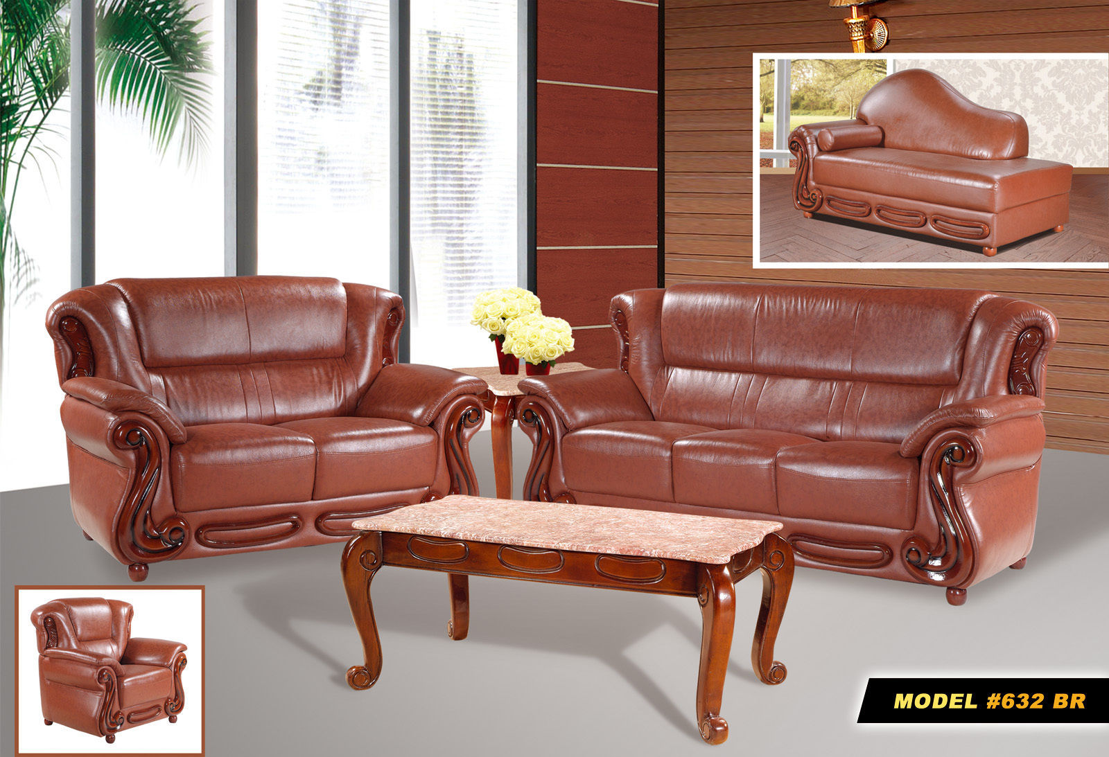 Meridian 632 Bella Living Room Set 3pcs in Brown Bonded Leather Traditional