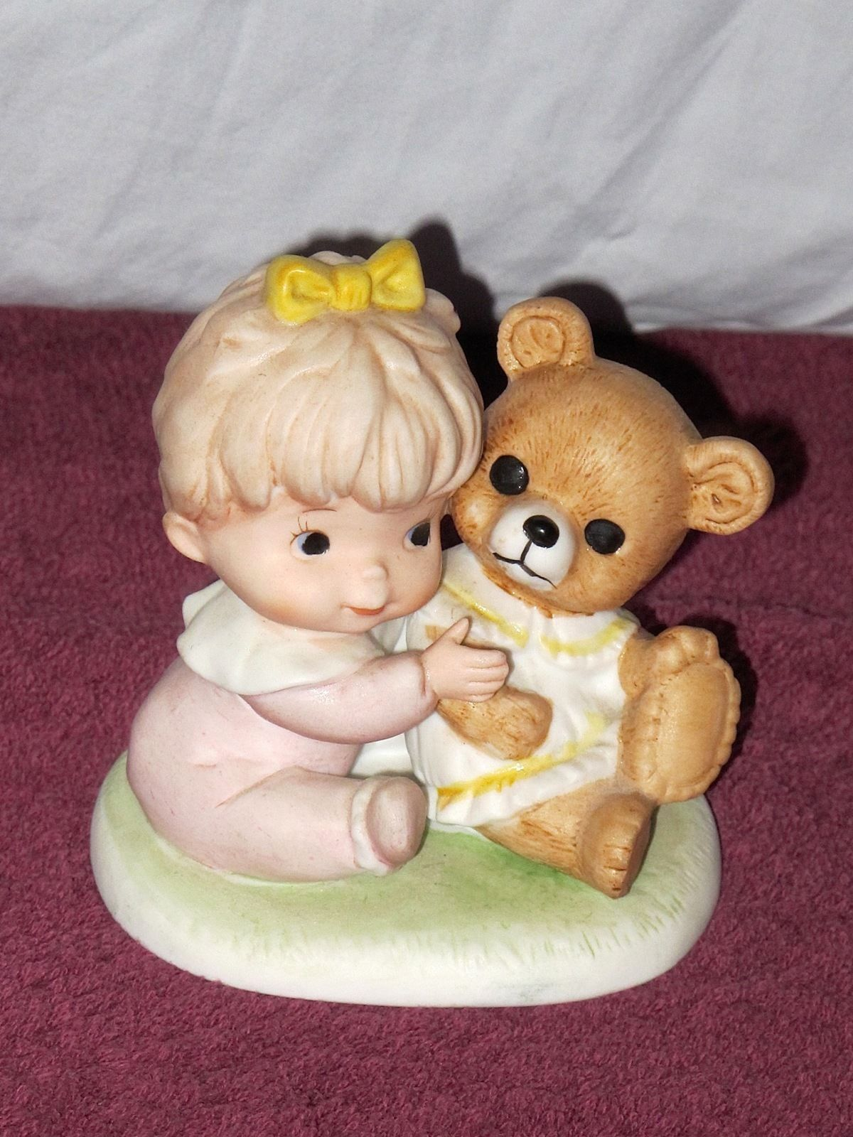 Vintage Homco Boy Dog Girl Bear Bisque Porcelain Figurines