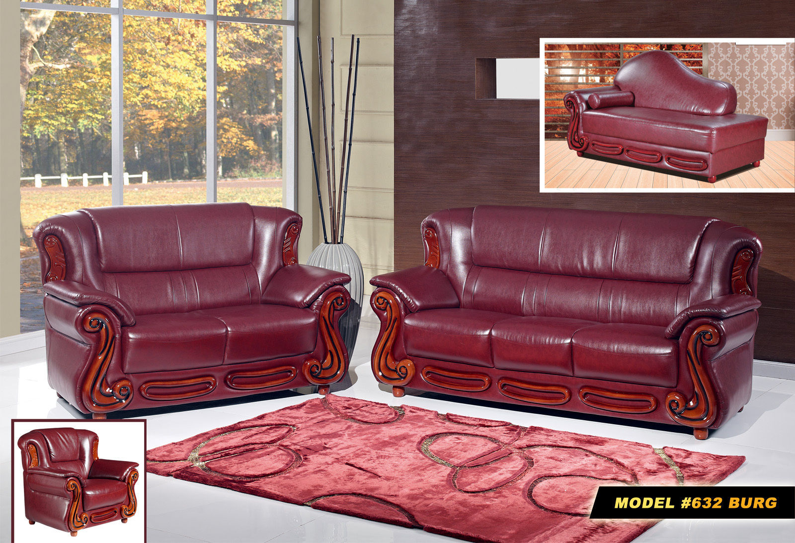 Meridian 632 Bella Living Room Set 3pcs in Burgundy Bonded Leather Traditional