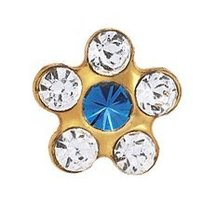 Sensitive Gold Plated Daisy April Crystal Sapphire Cartilage Earring Stud Hypoal - $9.99