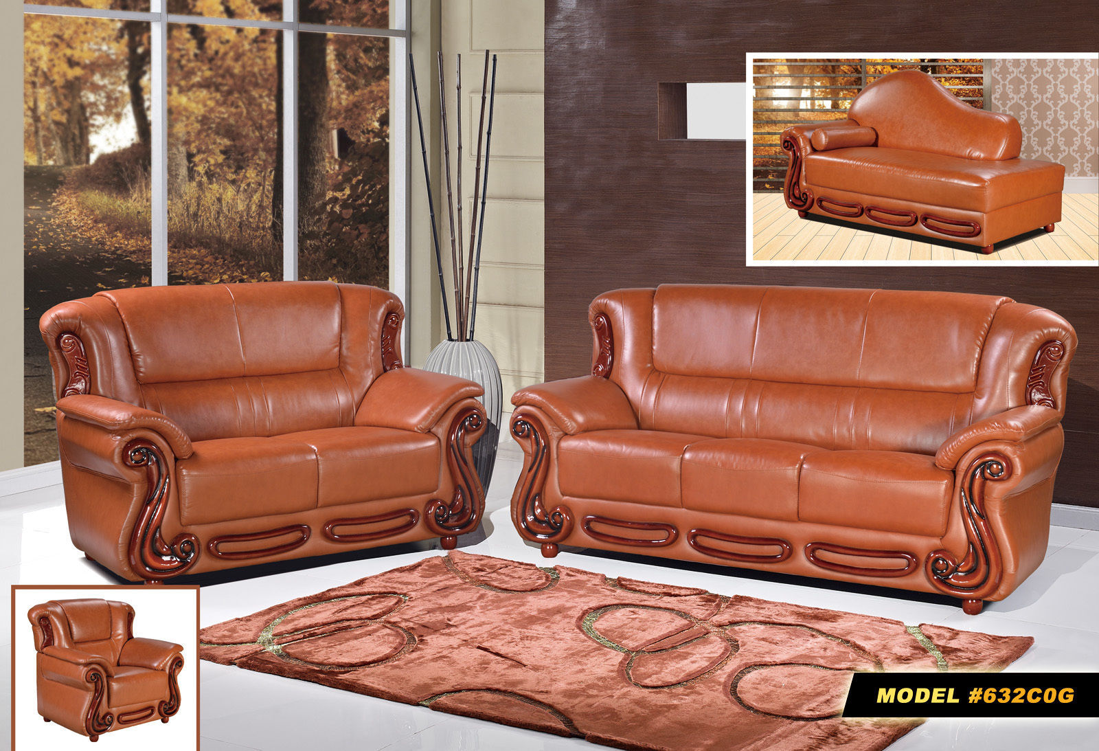 Meridian 632 Bonded Leather Living Room Sofa Set 3pc. Rich Cherry Traditional