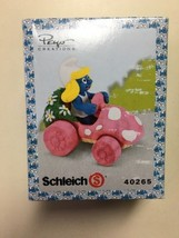Schleich Smurfette In Car Super Smurf Action Figure 40265 Peyo Creations... - $12.99