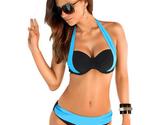 5 Colors sexy Low Waisted Swimwear Halter Top Push Up Bikini Set beachwear gift