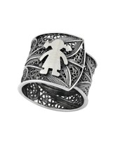 Ring traditional portuguese filigree, sterling silver (PAN731) - £42.96 GBP
