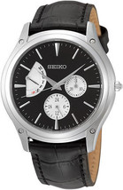 Seiko leather strap, classic, round case, black dial SNT005 - $128.00
