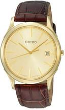 Seiko, men watch, 7N42, classic, champagne dial, Sgee24 - $140.00