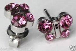 Sensitive Rose Butterfly Cartilage Earring Stud Hypoallergenic Surgical Steel Ba - $14.99