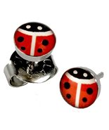 Ear Piercing Earrings Red Lady Bug 5mm Studs Stainless Steel Studex Syst... - $9.00