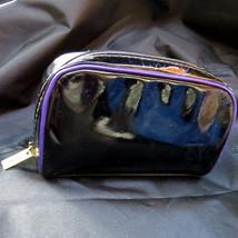 YSL Yves St Laurent Beaute Cosmetic Makeup Bag Black Patent Leather Purple Trim - $11.26