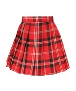 Women`s plus size high waisted plaid Pleated Skirts costumes(4XL ,Red bl... - $21.77
