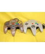 Lot 2x Nintendo N64 64 See Through & Grey Contr... - $19.55