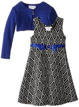 Bonnie Jean Little Girls 2T-6X Royal-Blue Black Geometric Dot Dress/Jacket Set