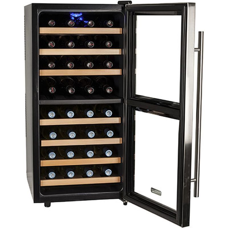 Compact 32 Bottle Stainless Steel Dual Zone Wine Cooler W