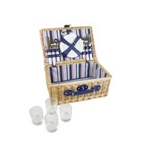 NEW 4 PERSON WILLOW WICKER PICNIC BASKET SUMMER OUTDOOR HAMPER SET+CUTLE... - $50.01