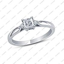 Three-Stone Wedding Ring 1/6 Ct Princess Cut White Cz 14K White Fn. 925 Silver - $62.99